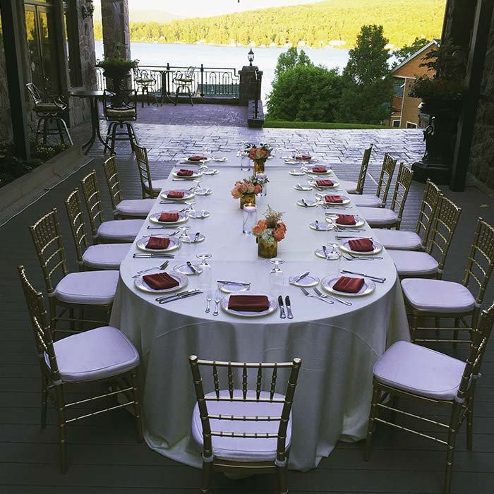 dining table on covered patio