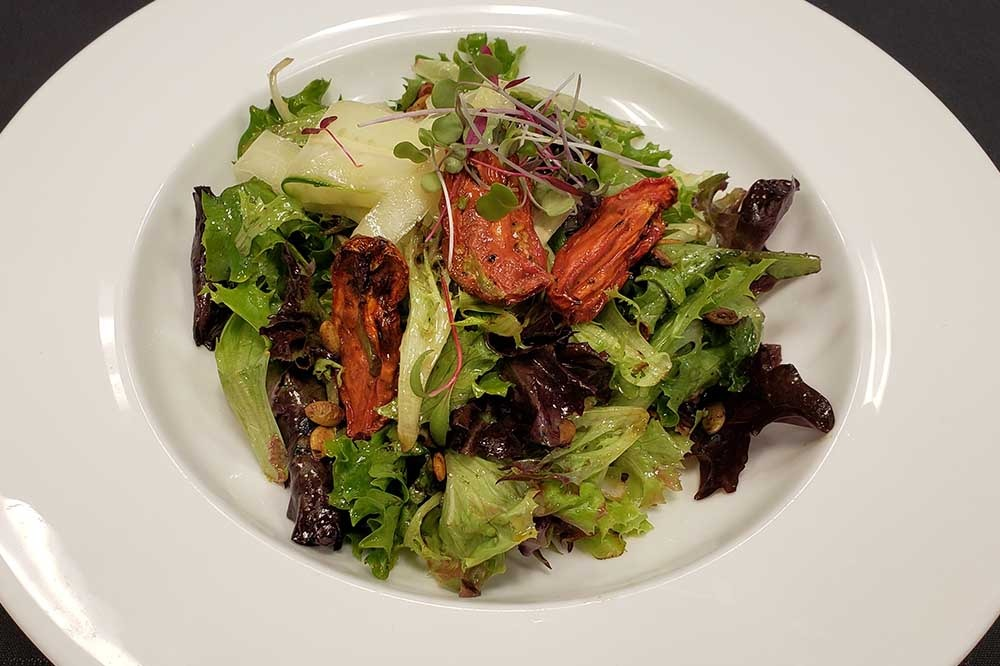 salad with chicken wings