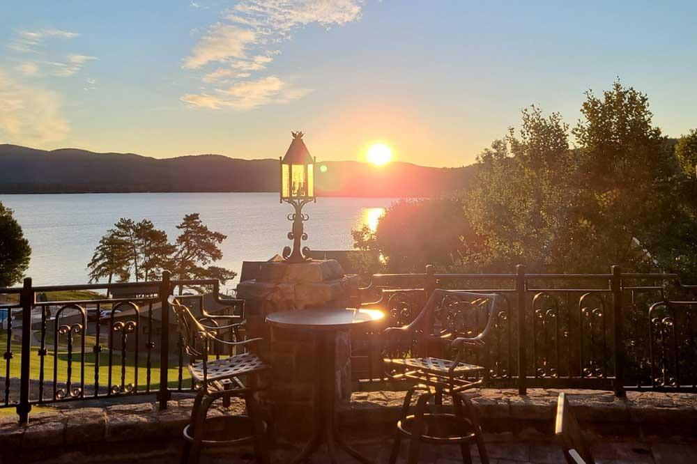 Sunrise over lake george mountains