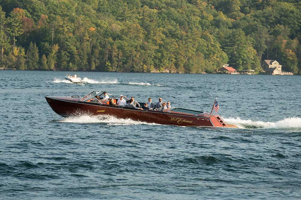 Wooden motor boat on lake
