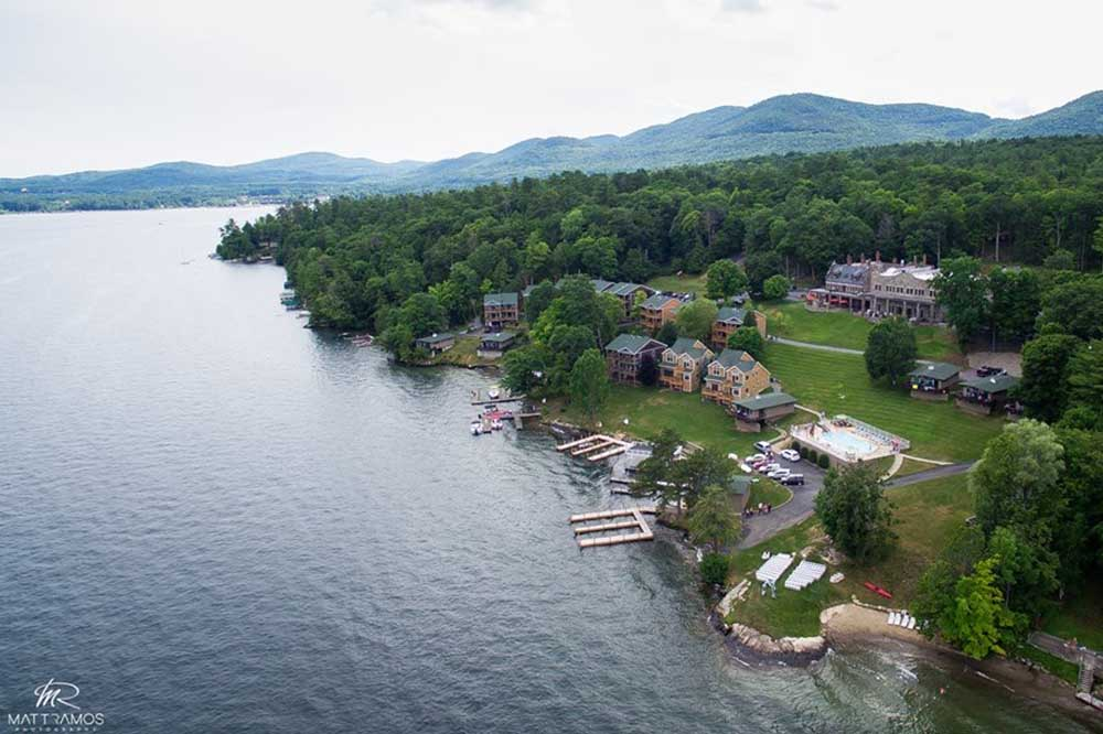 aerial views of the inn's property