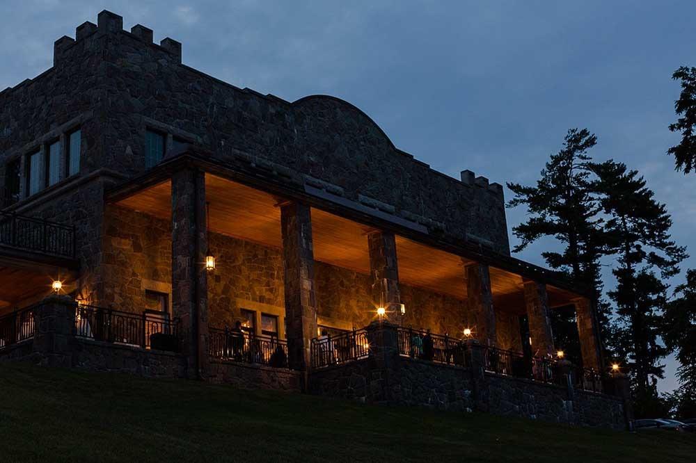 patio lit up at night