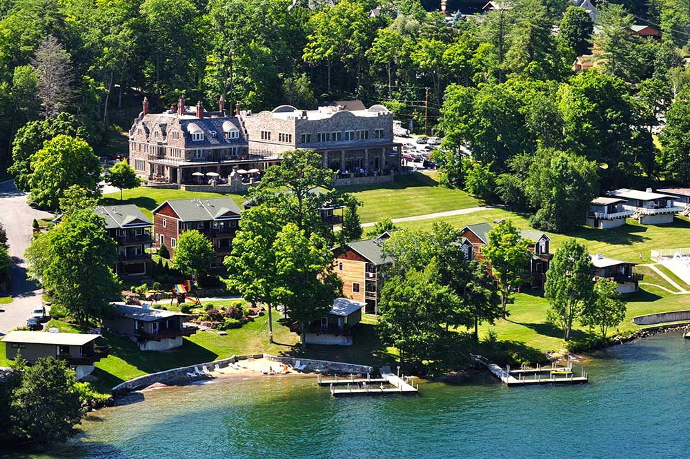 aerial view of lake George and the inn