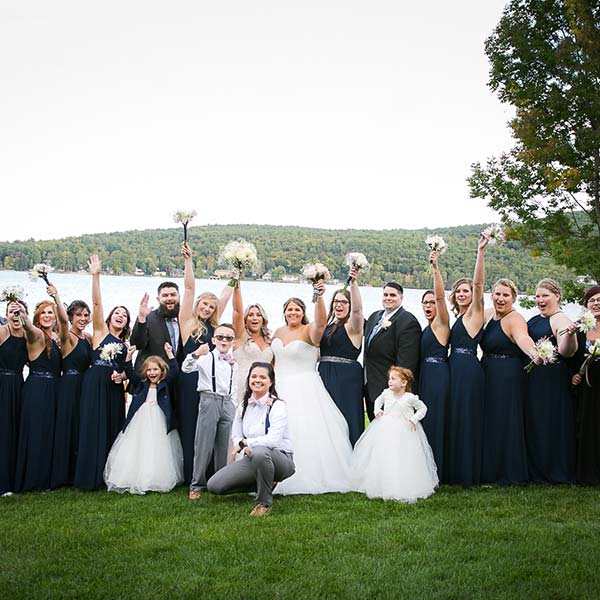 Wedding party posing for photo