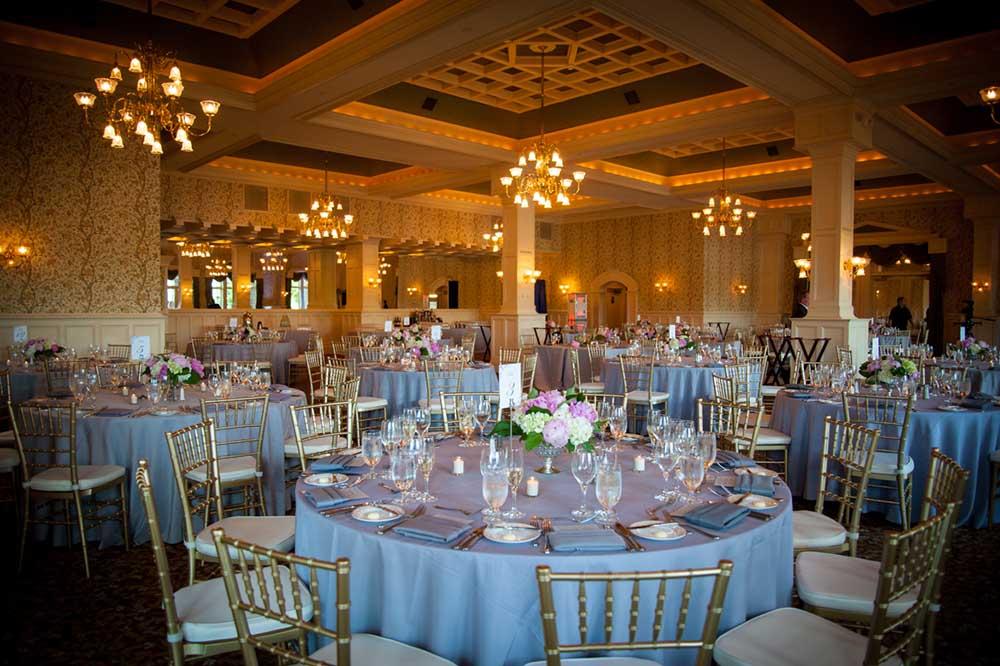 ballroom ready for wedding reception