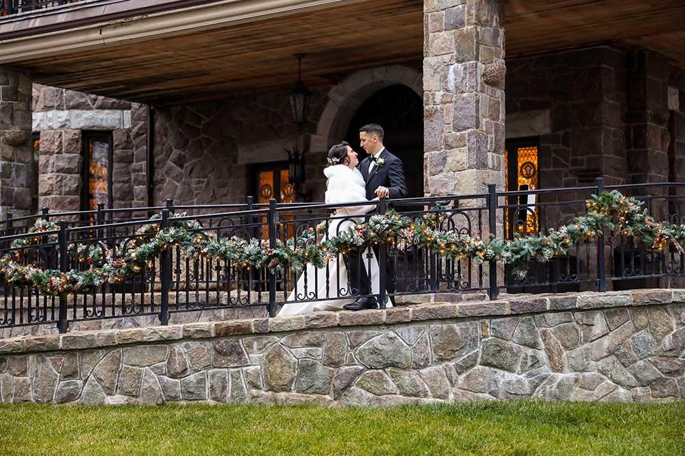 bridge and groom on patio ramp