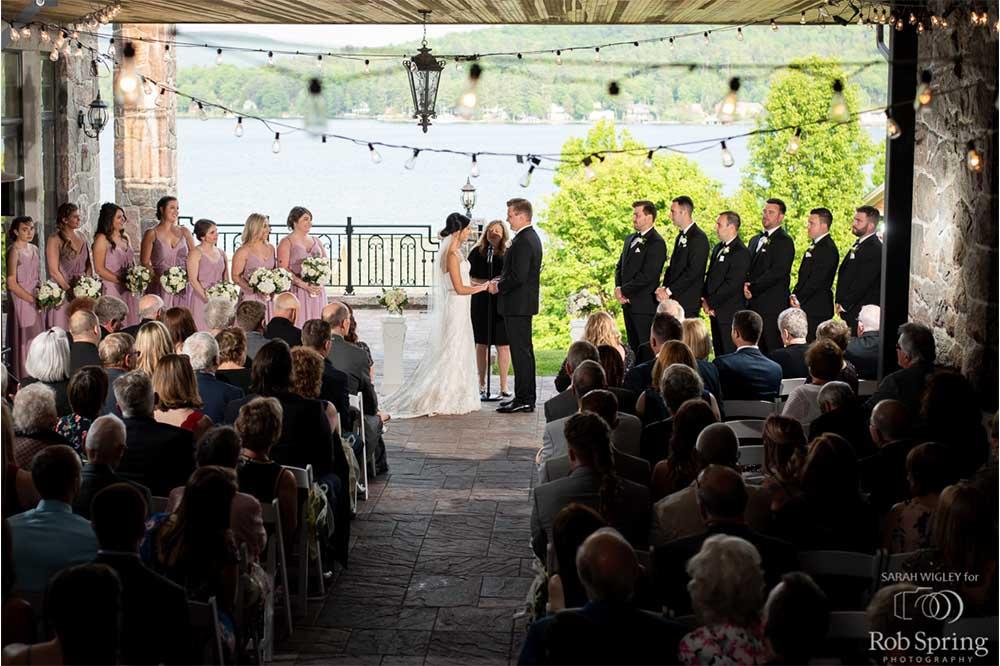 wedding ceremony overlooking lake george