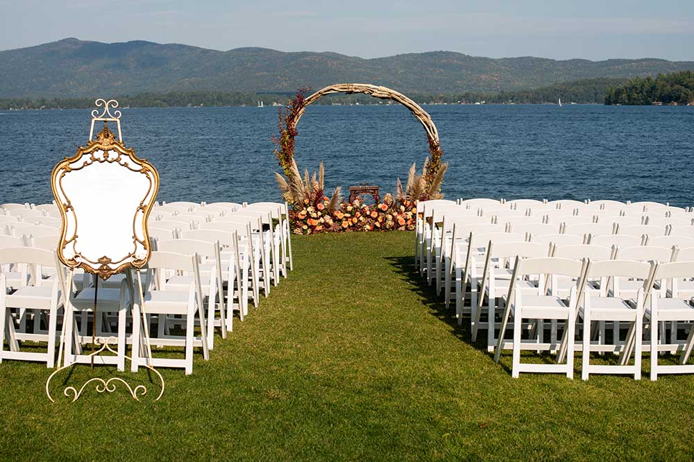 wedding ceremony setup with chairs