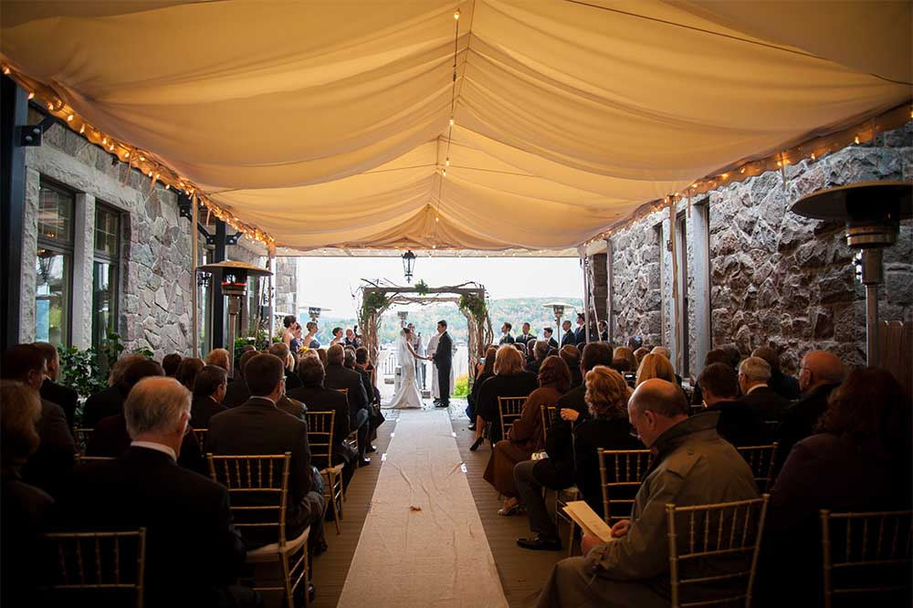 wedding ceremony on covered courtyard