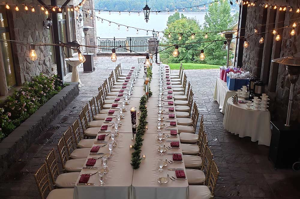 large table setup for wedding reception