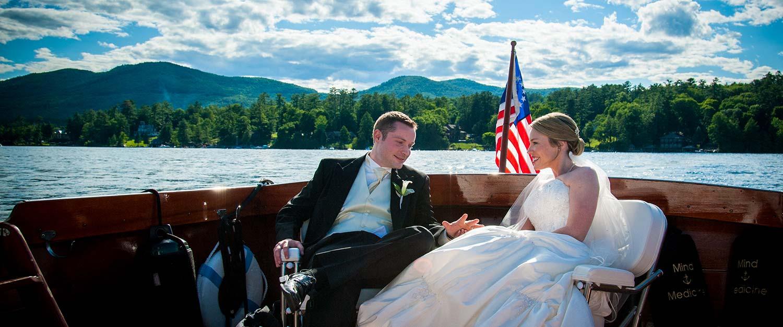 Wedding couple of back of boat