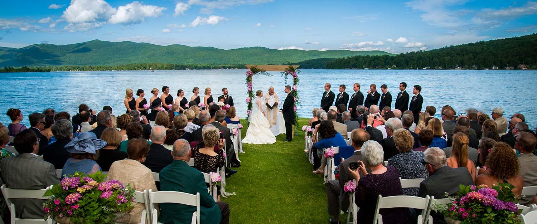 Wedding on shore of lake george