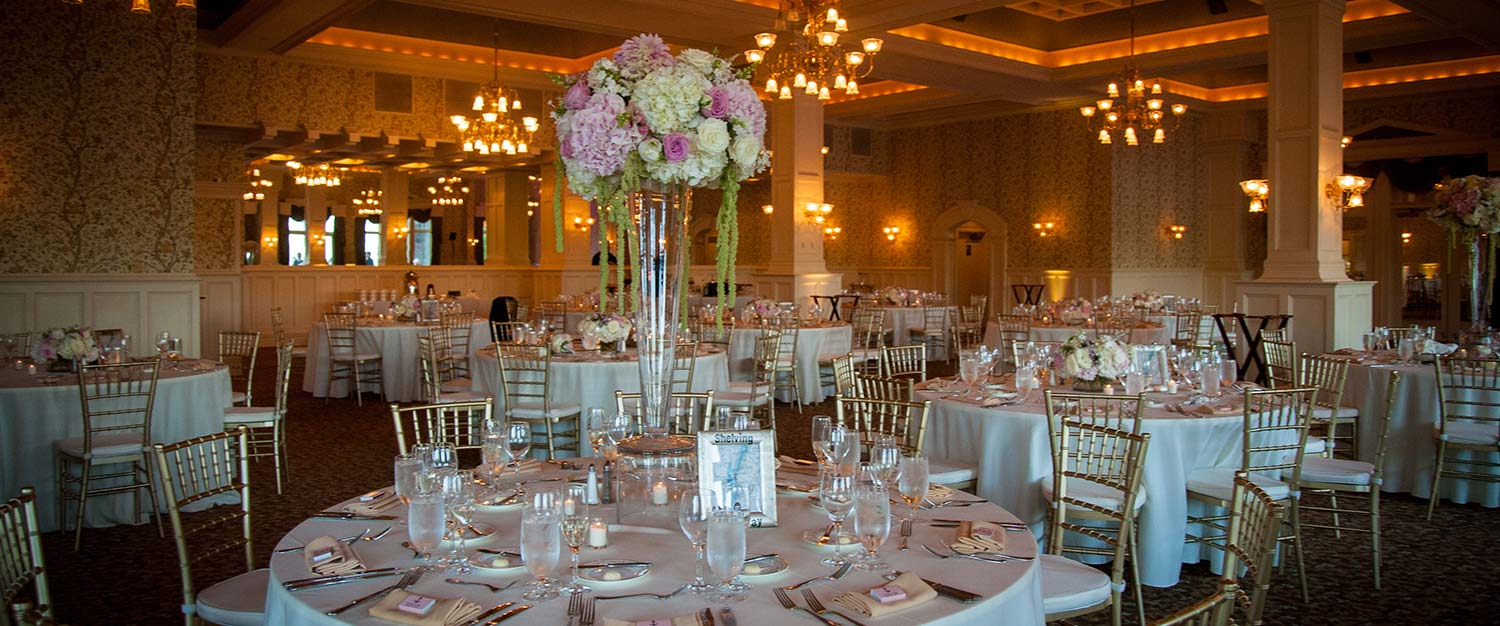 Ballroom with wedding tables