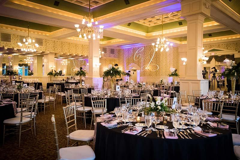 Ballroom setup with tables