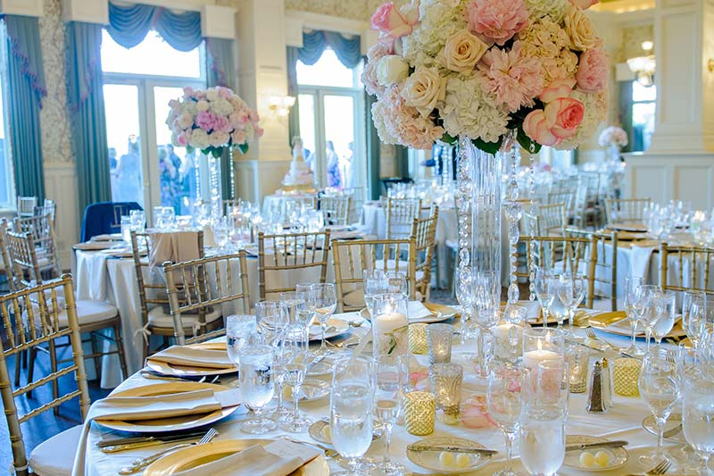 Wedding dining table with flower center piece