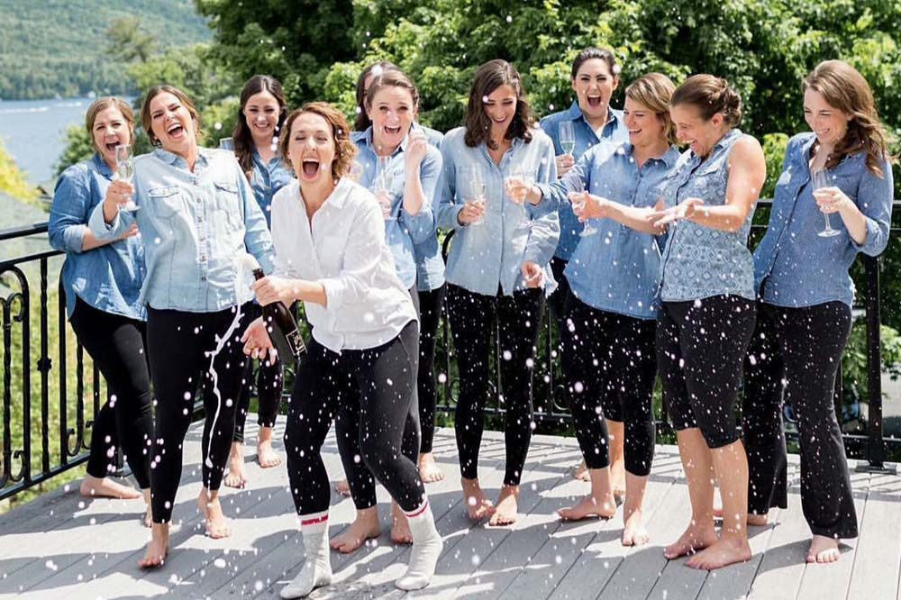 Group of Women celebrating with champagne