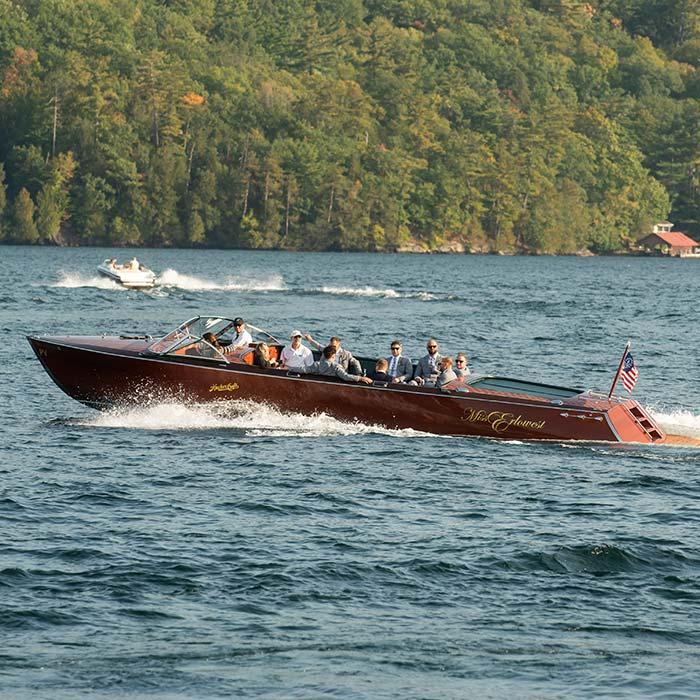 Miss Erlowest Wood powerboat on lake george