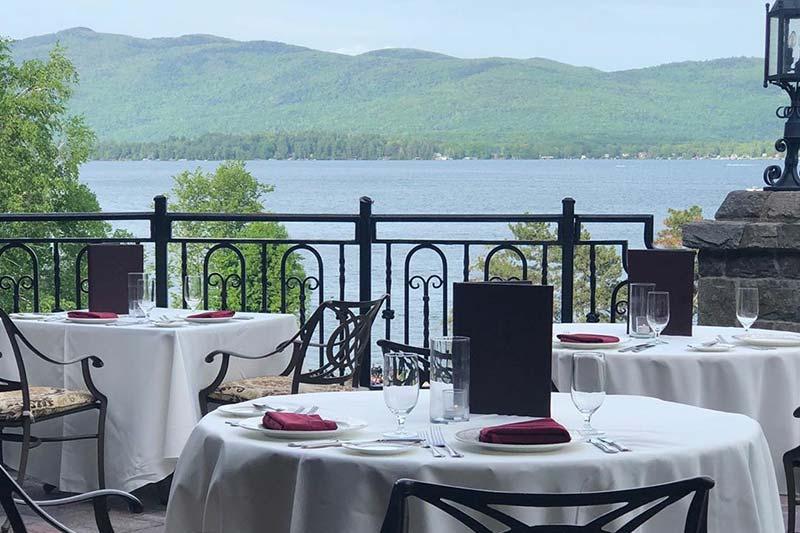 wedding table overlooking lake george