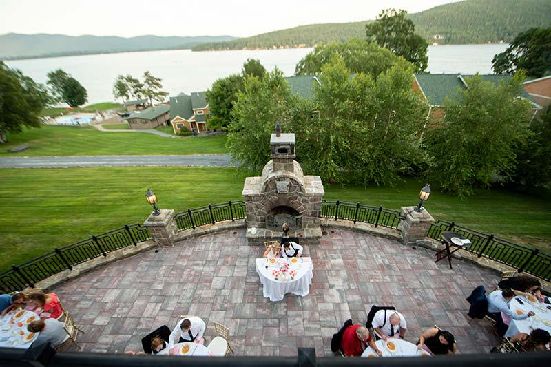 Over head view of terrace overlooking lake george