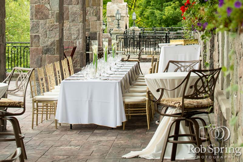 Long table at wedding reception
