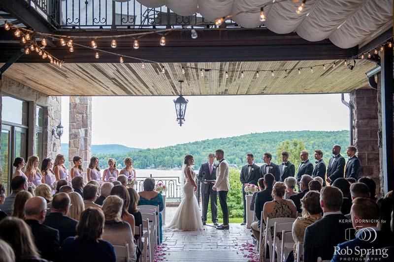Wedding on patio over looking lake george
